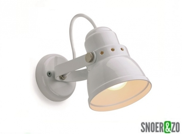 Wandlamp Met Snoer : Wandlamp metaal wit e snoer zo